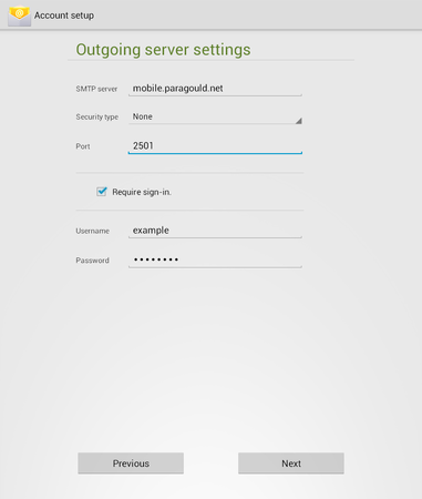 android - outgoing server settings
