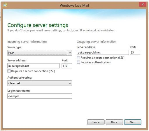 Windows Live Mail server settings